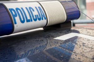Polish police car sign