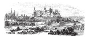 Wawel Castle or Royal Castle in Krakow, Poland, during the 1890s